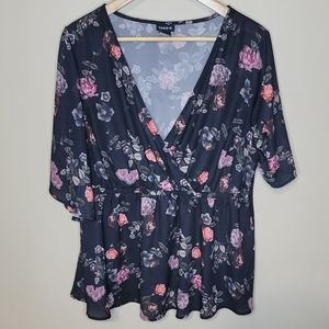 Torrid Faux Wrap Black Floral Baby Doll Top Size 1